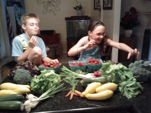 Kids enjoying CSA share